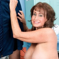 Horny 60 plus granny Jacqueline Jolie giving long cock a blowjob