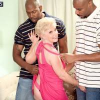 60 plus MILF Jewel taking hardcore fucking from two big black cocks