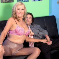 Mature blonde woman Bethany James giving a blowjob to big cock