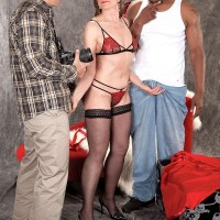 Naughty 60plusmilfs.com model Donna Davidson fucking black and white cock