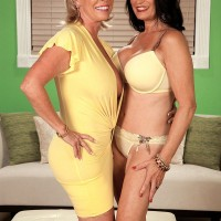 Busty MILFs over 60 like Gabriella LaMay in a mesh bodystocking are hot