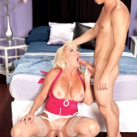 Sexy 60 plus MILF Julia Butt riding cock and face sitting man in garters and hose
