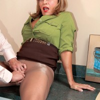 Pantyhose attired 60 plus MILF Luna Azul giving big cock blowjob in office