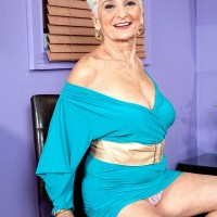 Over 60 granny model with great legs Hattie flashing upskirt panties