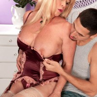 Gorgeous over 60 blonde babe Lexi McCain fucking young man in stockings