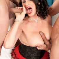 Busty 60 plus babe Rita Daniels fucking two younger cocks at once