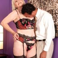 Nylon and lingerie clad 60plusmilf.com model Lola Lee sucking cock