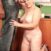 60+ Granny Jewel getting naked to give BBC a blowjob in front of wife