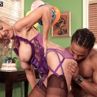 Buxom blonde granny Summeran Winters fucking a black man for birthday