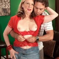 Hot blonde over 60 MILF Miranda Torri exposing erect nipples and nice mature ass