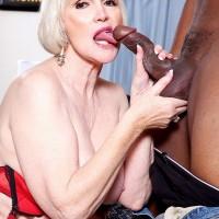 Chubby 60 plus granny Lola Lee sucking and fucking a big black dick