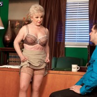 Naughty 60 plus granny Jewel flashing upskirt panties in office