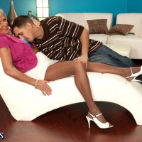 Leggy over to pornstar Sandra Ann teasing younger man in pantyhose