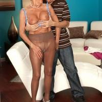 Leggy over to pornstar Sandra Ann teasing younger man in pantyhose
