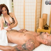 Topless Asian masseuse Kim Anh giving big cock handjob before riding on top