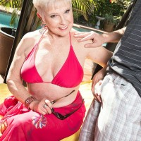 60 plus MILF pornstar Jewel unveils big granny tits outdoors before doggystyle sex