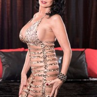 60 plus MILF pornstar Rita Daniels baring huge granny tits before MMF three way