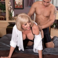 Blonde 60 MILF Scarlet Andrews having sex with younger man in sexy lingerie