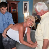 Short haired granny Joanne Price whips out big mature tits for younger man