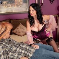 Lingerie and nylon adorned 60 plus MILF Rita Daniels giving big cock oral sex
