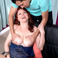 Redheaded 60 plus MILF Katherine Merlot seducing sex from younger man