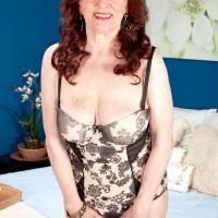 60 plus MILF Katherine Merlot giving big cock bj in stockings and garter