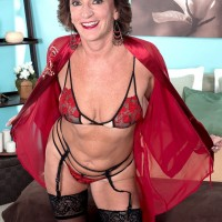 Lingerie and nylon garbed over 60 MILF Sydni Lane readying for doggystyle sex
