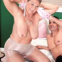 Grey haired pornstar Joanne Price unleashing huge granny tits while seducing big cock