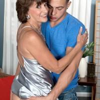 Leggy 60plusmilfs.com model Sydni Lane flashing upskirt ass in seduction scene