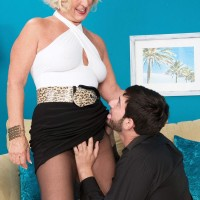 Skirt and pantyhose adorned 60 plus MILF Jeannie Lou giving big cock blowjob