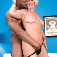 Leggy MILF over 60 Jeannie Lou giving large black cock handjob and blowjob