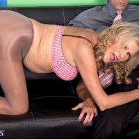 60 plus MILF model Bethany James baring large granny tits before giving bj in hose