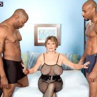 Busty 60 plus MILF Bea Cummins giving BBC handjob and bj in MMF threesome