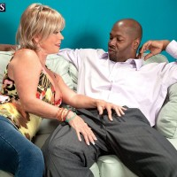 Chesty over 60 babe Cara Reid and younger man getting naughty before fucking