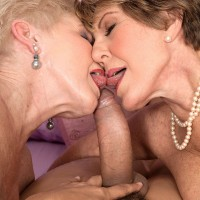 60 plus MILFs Bea Cummins and Jewel give large cock a blowjob during three way sex