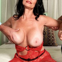 Bodystocking encased MILF over 60 Rita Daniels giving bj and taking anal in MMF 3some