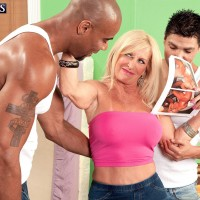 Busty blonde 60 plus MILF pornstar Julia Butt having interracial 3some with big cocks