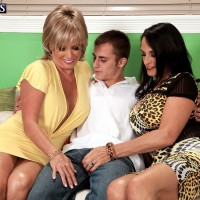 60plusmilfs models Rita Daniels and Lexi McCain have threesome with younger man