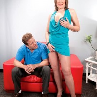 Over 60 MILF Donna Davidson having pantyhose removed by younger man