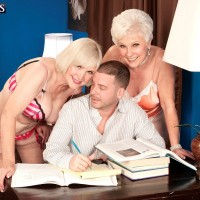 Mature pornstars Lola Lee and Jewel having threesome on 60PlusMILFs