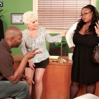 Over 60 blonde cougar Jewel seducing hardcore sex from big black cock in office