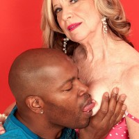 60 MILF pornstar Miranda Torri riding big black cock during hardcore sex