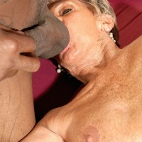 60 plus MILF Sandra Ann giving huge black cock handjob and blowjob in stockings