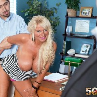 50 plus MILF Annellise Croft seduces a younger man in front of cuckold hubby