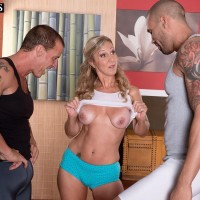 Fit 50 plus MILF Jenna Covelli seduces a couple of younger guys while doing yoga