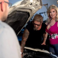 Hot 50 plus blonde Laura Layne uses her nice tits for free car repair job