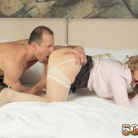 Over 50 MILF Veronique bangs her younger lover after her gives her a neck rub