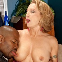 Hot MILF over 60 Luna Azul has her big tits played with by a younger black stud