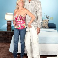 Hot over 60 lady Payton Hall seduces a younger black man wearing denim jeans