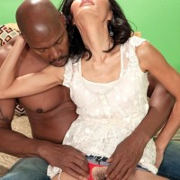 Petite granny Sahara Blue has her hairy vagina finger spread by her black toy boy